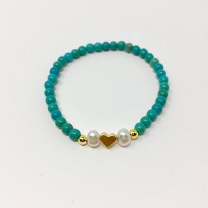 Turquoise Howlite and Pearl Heart Charm Bracelet